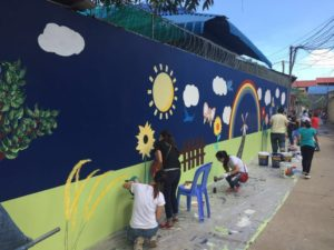 Charity Painting Session outside the Wall of Cambodia Care Centre